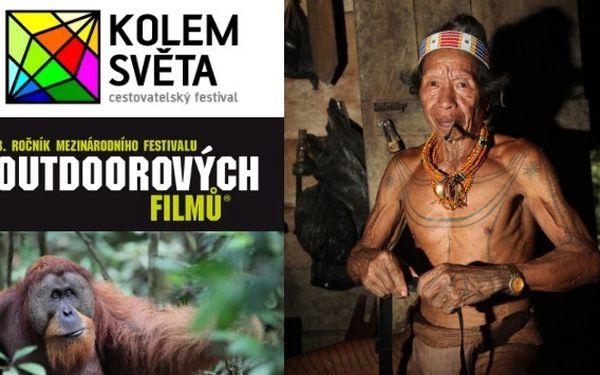 Dvě 3 denní permanentky na festival KOLEM SVĚTA a Mezi- národní festival OUTDOOROVÝCH FILMŮ za 320 Kč. Sleva 50%.