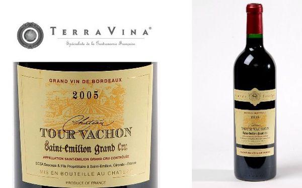 Lahev luxusního francouzského vína saint emilion grand cru chateau tour vachon 2005 jen za 349 kč z 695 kč. Sleva 50%