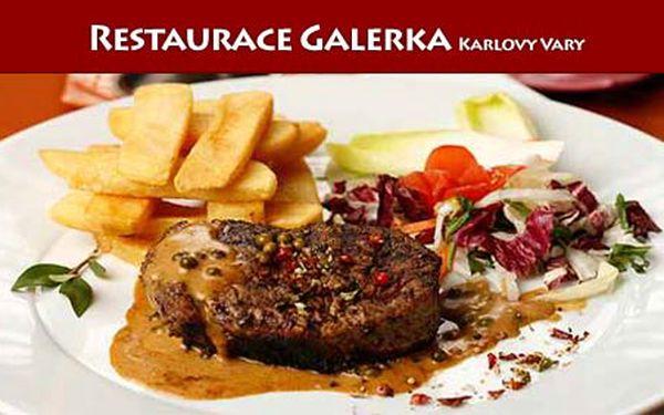 """Ochutnejte poctivý biftek """"Klasik"""" v restauraci Galerka za 160 Kč. Ušetříte 50% proti obvyklé ceně."""