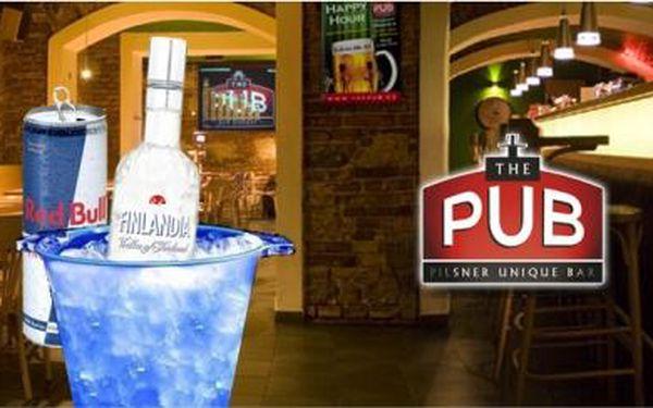 Fantastická nabídka pro Vaší party nebo setkání s přáteli! V legendární restauraci THE PUB dostanete lahev vodky a 6x Red Bull místo za 850,- Kč jen za neuvěřitelných 350,- Kč, to je sleva téměř 60%! Pozvěte kamarády a rozjeďte velkou party!