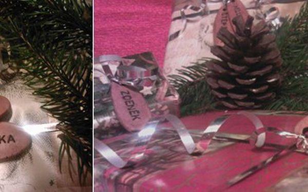 Stylové keramické visačky na vánoční dárky se jménem obdarovaného (15 ks)