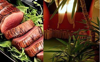 Dopřejte si tu nejluxusnější specialitu šéfkuchaře v podání romantické večeře pro 2 osoby i s dezertem a portským vínem. Vše jen za 525 Kč místo 1094 Kč! Zažijte jedinečný gurmánský zážitek při svíčkách a báječný jelení biftek chateaubriand se slevou 53%