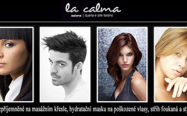 Špičkový kadeřnický salon La Calma v historickém centru Prahy pro vás přichystal slevový balíček kadeřnických služeb: Mytí zpříjemněné na masážním křesle, hydratační maska na poškozené vlasy, střih, foukaná a styling - za poloviční cenu!!!