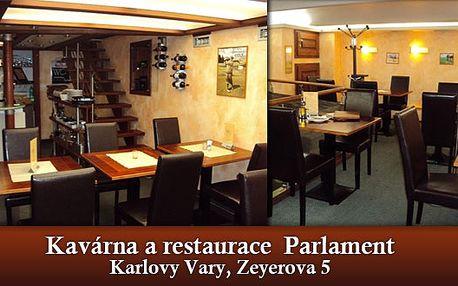 Romantická večeře pro dva - 392 Kč za romantickou večeři pro dva vkarlovarské restauraci Parlament! Dopřejte si gurmánský zážitek se slevou 43 %, potěšte své smysly i drahou polovičku nezapomenutelným tříchodovým menu.