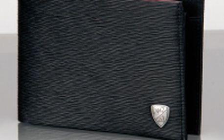 Lamborghini Valleta, pánská peněženka - Pánská elegantní peněženka je vyrobená z jemné černé kůže. Kůže na vnější straně je tvarována specifickým způsobem, viz obrázek. Vnitřní části jsou z hladké kůže. Na přední straně peněženky je kovový odznak Lamborg