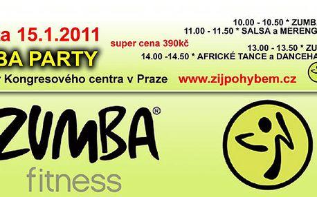 ZUMBA PARTY !! Zumba, Salsa, Africké tance a další za poloviční cenu. 2 vstupenky za cenu jedné.