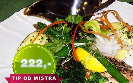 Menu pro 2 osoby - 2 x filet z lososa mistra Keplera v Golémově restaurantu