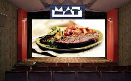 2x výborná večeře a 2x vstupenka do kina mat jen za 226 kč. Dejte si steak mat včetně přílohy a nápoje a užijte si filmové představení dle vašeho výběru s mimořádnou 60% slevou, to vše jen ve stylovém kině mat!