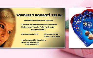 """""""PRO TEBE I MODRÉ Z NEBE!"""" Milý dárkový balíček k Valentýnu! Kadeřnické služby dle vlastního výběru v hodnotě 299,- v Hair salonu Carolline a bonboniera Modré z nebe!"""