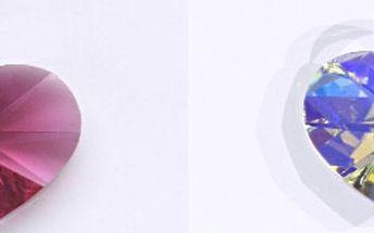 Srdce 17mm fuchsia, light-rose, akvamarín, AB krystal - tyto přívěsky jsou šperky s krystaly Swarovski. Srdce jsou zasazená do stříbra 925/1000. Stříbrné ouško je rhodiované. Krystal Swarovski je vždy v uvedené barvě. Samotné srdce má rozměr 18x17,5mm
