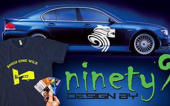 Bláznivé tričko s potlačou podľa výberu, samolepka na auto alebo 100 ks serióznych vizitiek od reklamnej spoločnosti Ninety9 Design za 8,90 €. Zľava 56%.