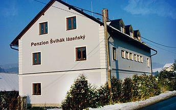 Skvělých 1999 Kč za lyžařský pobyt v penzionu Švihák lázeňský v Jeseníkách. V ceně kupónu je libovolný pokoj na 3 noci pro 2, 3 nebo 4 osoby + sleva 400 Kč pro každou osobu na vícedenní skipas do lyžařského areálu Kouty nad Desnou. Sleva 50%.