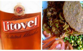 Pozor skvělá nabídka! Bramboráková kapsa pro velké jedlíky plněná směsí kuřecího a vepřového masa 440g + 1 pivo litovel za pouhých 77 kč!! Dopřejte si českou klasiku nyní s 60% slevou!!
