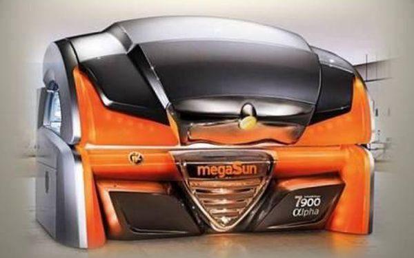 Solárium MegaSun Alpha 7900 IntelliSun - Luxusní solárium s možností nastavení 3 typů opalování. Sleva 55% na permanentku + 10% následný bonus!