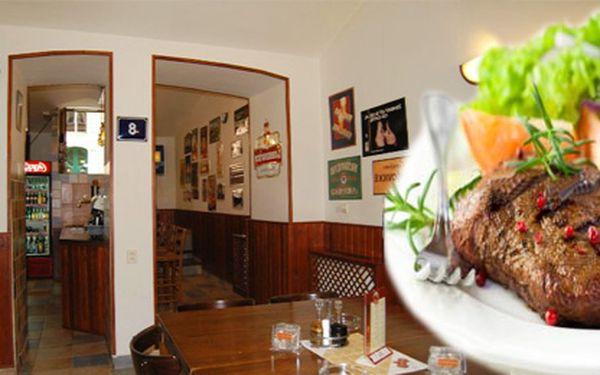 Pořádná porce masa a k tomu nápoj v Mánesově pivnici v centru Prahy pro jednu osobu! 250g Argentinský vepřový steak a libovolný nápoj za 105Kč.