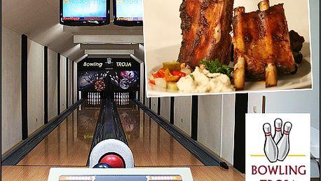 Uzená žebírka s pivem pro DVĚ osoby včetně hodiny bowlingu!
