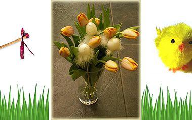 Velikonoční balíček s vajíčky, tulipány, velkou pomlázkou a skleněnou vázou!