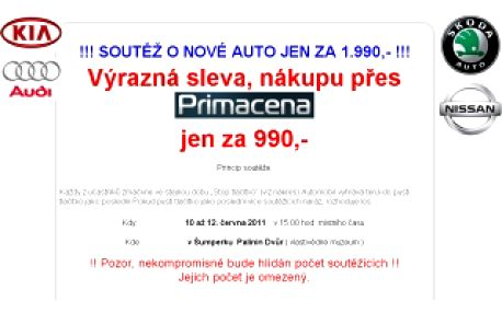 99,9% startovné do soutěže !!! NADORAZ !!! jen za 990,- Kč, Vás opravňuje zúčastnit se soutěže o nové auto Dacia SUV