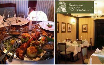 Luxusní menu pro dvě osoby za pouhých 399 kč v noblesní restauraci u patrona! 600g masového copu (hovězí svíčková, vepřová panenka, kuřecí prsa), gratinované brambory a jarní salát v banánovém listě jako příloha a k tomu pepřová a hříbková omáčka.