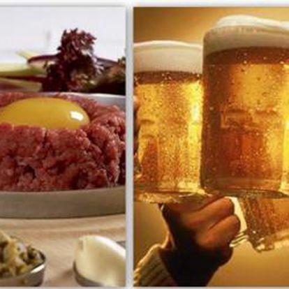 Cenová bomba !!! 400g TATARÁKU + 20 ks TOPINEK + 4 velká PIVA dle vlastnýho výběru z 21 druhů točených piv. Porce pro dvě až tři osoby.To vše jen za 199 Kč v centru Prahy!