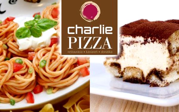 8,90 Eur za dokonalé talianske menu v Charlie pizza. Skvelé cestoviny a dezert pre dve osoby v príjemnom prostredí novootvorenej reštaurácie teraz so zľavou až 52 %!