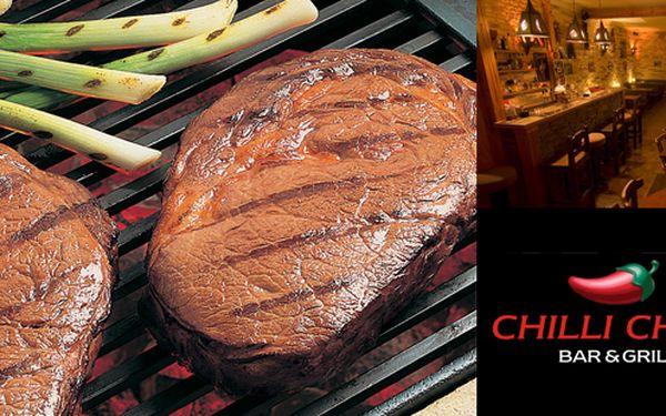 1+1 hovězí Rib-Eye steak zdarma - 233 Kč za dva luxusní 200 gramové hovězí Rib-Eye steaky podávané s restovanými zelenými fazolkami a přílohou dle vlastního výběru, servírované na dřevěném prkénku ve stylovém prostředí Chilli Chilli baru!