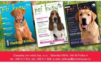49% je 195 Kč za roční předplatné časopisu Psí kusy - dlouhodobě nejčtenějšího časopisu o psech a jejich majitelích