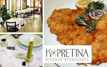 109 Kč za řízek přes půl talíře s domácím bramborovým salátem v řízkové restauraci Kopretina. Vepřové potěšení pro řízkové fajnšmekry s 50% slevou.