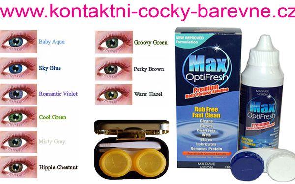 360 Kč za barevné kontaktní čočky FreshKon, dioptrické i bez, roztok a obal