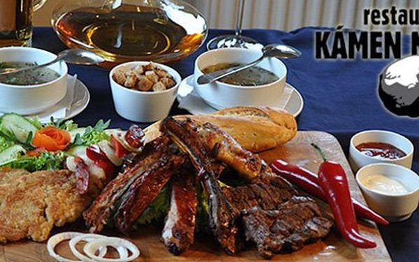 199 Kč za masový talíř a domácí česnekovou polévku pro DVĚ osoby v hodnotě 690 Kč. Radost z jídla ve 4D s 71% slevou!