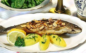 Jen 149 Kč za DVA pstruhy pečené na másle a pražených mandlích s libovolnou přílohou! Ochutnejte čerstvé ryby z českých chovů ve fantastické úpravě!