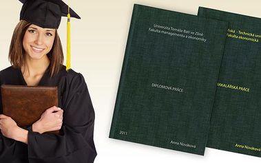 """Výroba desek se čtyřmi řádky potisku na diplomové a bakalářské práce. Nenechte se zavalit papíry a dejte Vaší závěrečné práci pěkný """"kabát"""". Navštivte náš obchod a my Vám rádi poradíme a v případě zájmu Vaši práci i vytiskneme. Máme nejlepší cenu ve Zlín"""