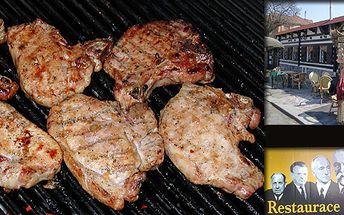 Obří Husákovy flákoty na exotickém koření s česnekovou studenou omáčkou (0,5 kg), salát z čerstvé zeleniny a pečivo!
