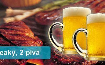 Dva vepřové steaky a dvě vychlazené 11ky piva Ježek se slevou 40% Přijďte si pochutnat do Brick Baru!