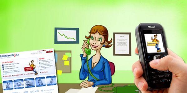 Získejte 100 Kč kreditu na levné volání a sms jen za 49 Kč na klikniavolej.cz! Volejte z Vašeho mobilu již od 1,45 Kč/min! Pro 1000 nejrychlejších! Bez dalších závazků!