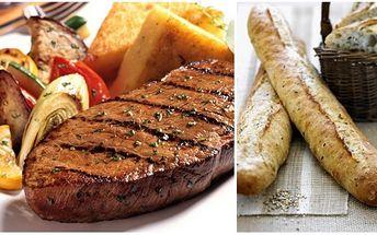"""Zajděte si s kamarádem na pořádný kus masa za pouhých 198 kč! 2x roštěná """"xénie""""! Grilovaný steak z vysokého roštěnce podávaný s anglickou slaninou a grilovanou zeleninou a bylinkovou bagetkou! To vše s 58% slevou!!"""