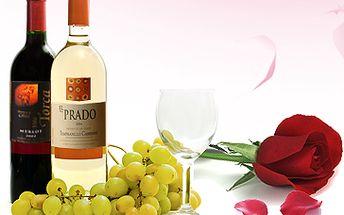 """Pouhých 190 Kč namísto 380 Kč za DVĚ láhve prvotřídního francouzského vína (červené MERLOT Torca a bílé EL PRADO) + kytička růží. Uděleje radost svému protějšku. Ne nadarmo se říká """"KVĚTEN lásky čas"""". Sleva 50%"""