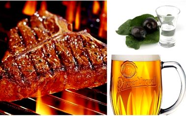 Skvělá nabídka! Získejte za pouhých 169 Kč dva výborné steaky na grilu s hořčicí, zeleninou a pečivem, dvě nepasterizované 12° Plzně přímo z tanku a dva panáky Moravské slivovice! Vše s 52% SLEVOU ve stylové restauraci U Ševců!!