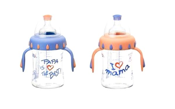 Vysoce kvalitní kojenecké láhve Bibi - I Love Mama a I Love Papa za 105 Kč -