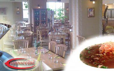 Gastronomický zážitek v Originál Restaurant Cappuccini. Celé TŘÍ CHODOVÉ menu za pouhých 97 Kč! Vychutnejte naše vybrané menu na naší nové, krásné letní terase.