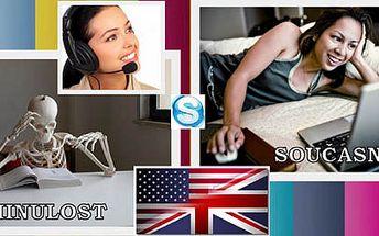 Anglicky po Skype - lekce anglického jazyka z pohodlí domova nebo kanceláře po Skype. 60 minut s 50% slevou! Vyzkoušejte si moderní metodu studia z pohodlí Vašeho domova! 1 lekce POUZE 125,- Kč!!!