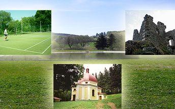 Ubytování pod stany - koupaliště, grilování, tenis, petanque, kuželky, volejbal, badminton, nohejbal - vše v ceně!