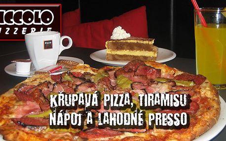 Jen 150Kč za křupavou pizzu, tiramisu, nápoj a lahodné presso. Neodolatelná chuť Itálie v centru Černé Hory