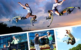 Skočte si pro super zábavu! Celá hodina pro 2 osoby na skákacích botách za 228 Kč. Kdo neskáče, není Čech!