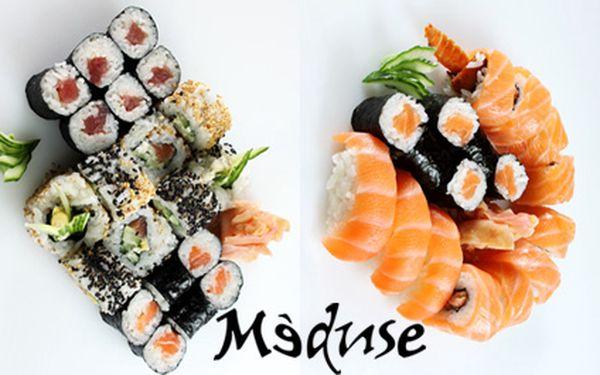 NEJVÝHODNĚJŠÍ SUSHI MENU na trhu v luxusním MÉDUSE restaurant! 20ks Maki, 6ks Nigiri a 2ks Sushimi Sushi v prémiové sushi restauraci. PORCE PRO DVA za 299 Kč namísto 899 Kč!