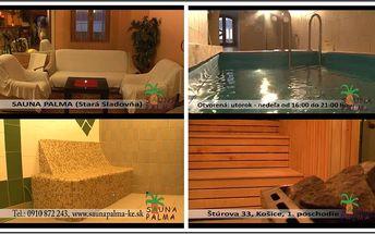 Priďte si oddýchnuť a zrelaxovať po náročnom dni do sauny Palma. Ponúkame Vám 2-hodinový vstup so zľavou 60% za neskutočných 2,40 € ! Fínska a parná sauna, odpočívareň s relaxačnou hudbou, či internet zadarmo!