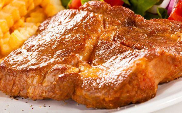 198 Kč za DVA obrovské 300g vepřové steaky z krkovice podávané se žampionovou nebo pepřovou omáčkou, zeleninou a hranolky! Pořádná bašta pro 2 jedlíky s velkou 60% slevou v Ristorante San Marino!
