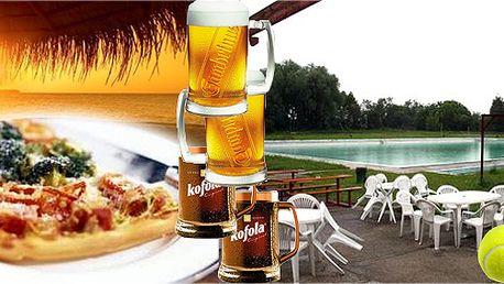 Vstup pro dva na krásné koupaliště, k tomu dvě výborné pizzy, k pití piva nebo Kofoly a hodina tenisu + ping pong neomezeně!