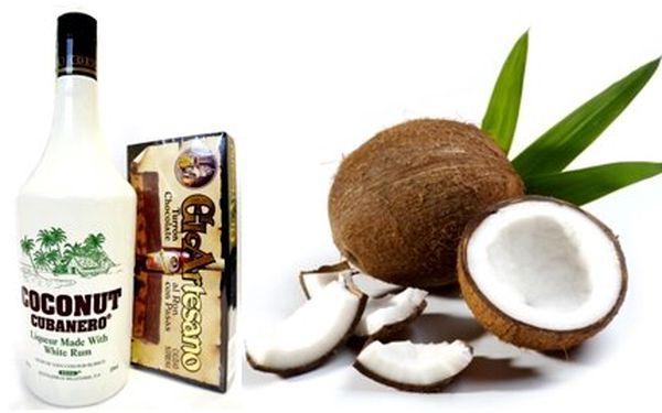 Jen 239 Kč za fantastický kokosový likér Coconut Cubanero (1l) a čokoládový turron s rozinkami a rumem!