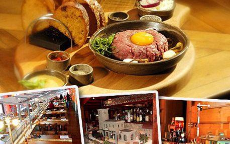 Pořádný nářez! Dejte si tatarák z Výtopny a k tomu porci topinek! Gurmánský zážitek pro opravdové masožravce ve skutečně stylové restauraci.